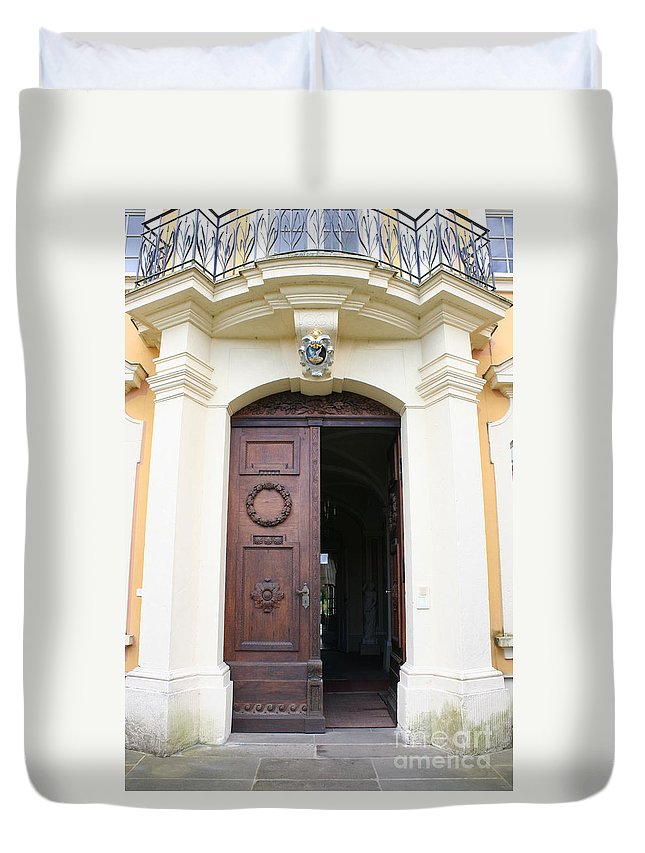 Old Carved Door Duvet Cover featuring the photograph Old Carved Door by Christiane Schulze Art And Photography