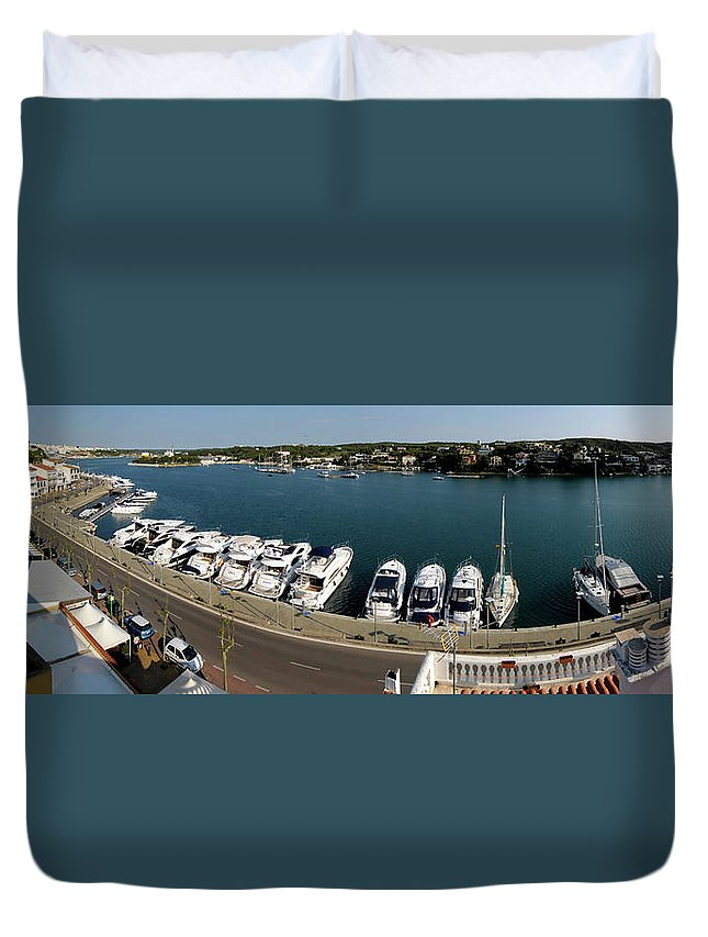 Mao Duvet Cover featuring the photograph panoramic town 1 - Panorama of Port Mahon Menorca by Pedro Cardona Llambias
