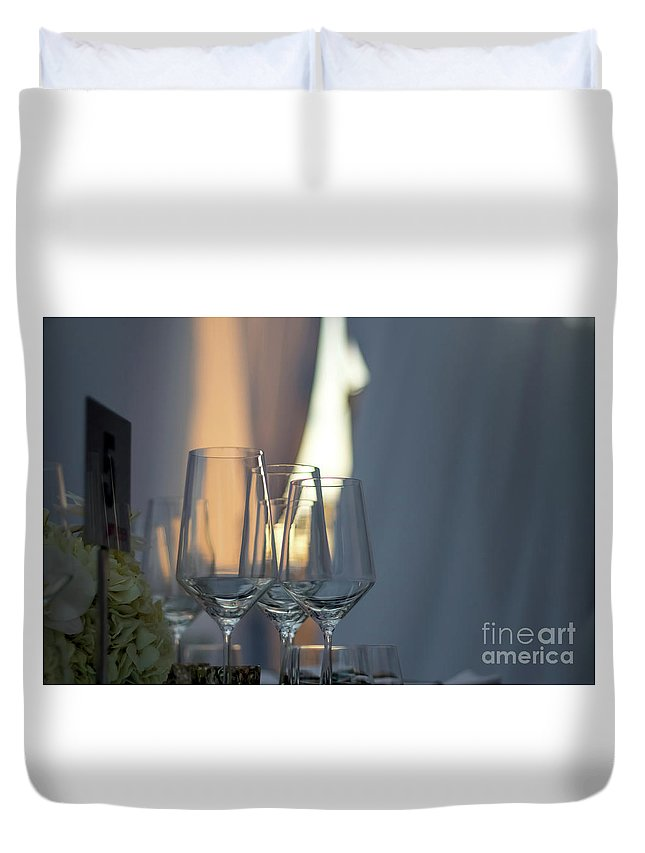 Abstract Duvet Cover featuring the photograph Party Setting With Bokeh Background by Eiko Tsuchiya