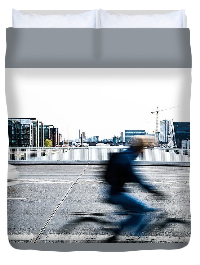 Denmark Duvet Cover featuring the photograph People Cycling In Copenhagen by Leonardo Patrizi