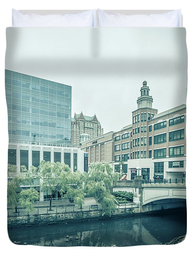 Skyline Duvet Cover featuring the photograph Providence Ri City Skyline Autumn Season by Alex Grichenko