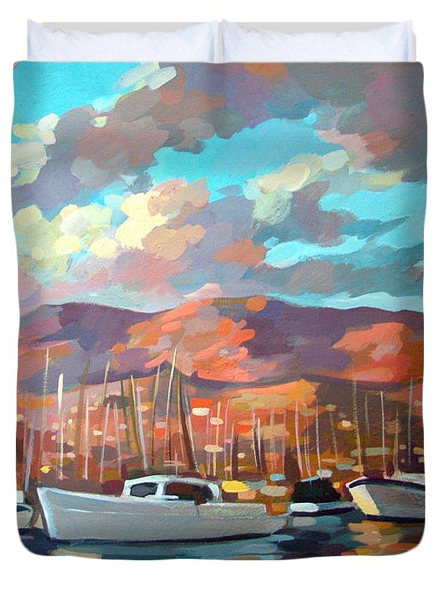 Boats Duvet Cover featuring the painting Santa Barbara by Filip Mihail