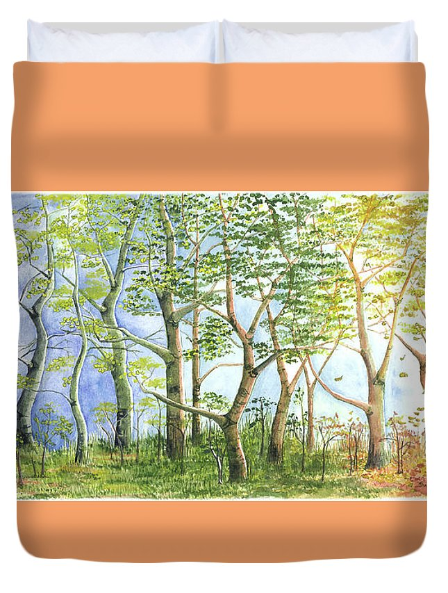 Landscape Duvet Cover featuring the painting Four Seasons by Susan VanRooy