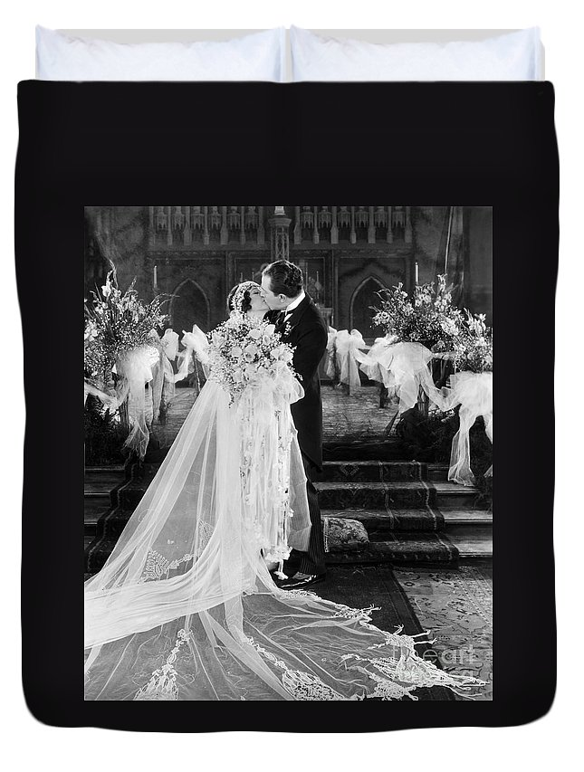 -weddings & Gowns- Duvet Cover featuring the photograph Silent Film Still: Wedding by Granger