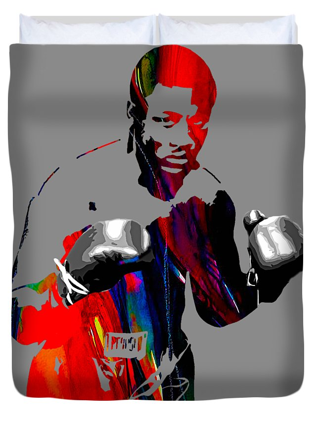 Joe Frazier Duvet Cover featuring the mixed media Smokin Joe Frazier Collection by Marvin Blaine