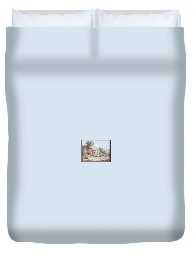 Puzzle Duvet Cover featuring the digital art Stannardhenryjohnsylvester Girllookingatacottage-we F018 Henry Sylvester Stannard by Eloisa Mannion