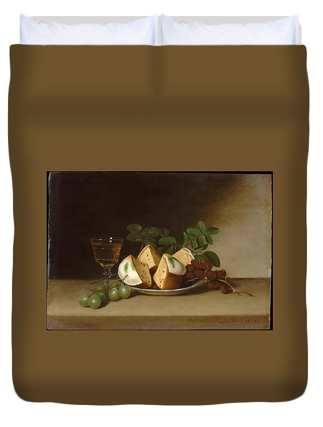 Raphaelle Peale Still Life With Cake Duvet Cover featuring the painting Still Life With Cake by Raphaelle Peale