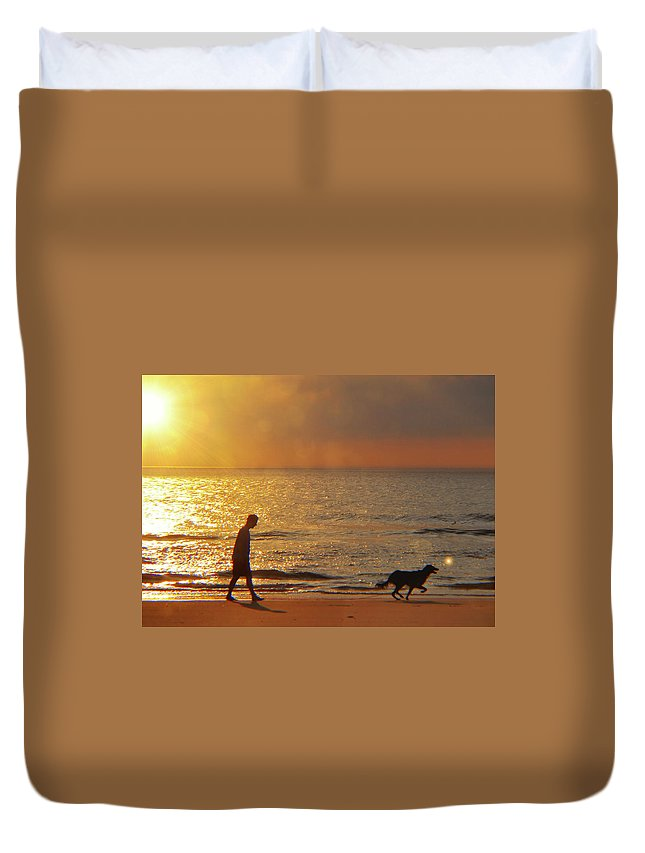 Beach Duvet Cover featuring the photograph Sunrise Stroll by JAMART Photography