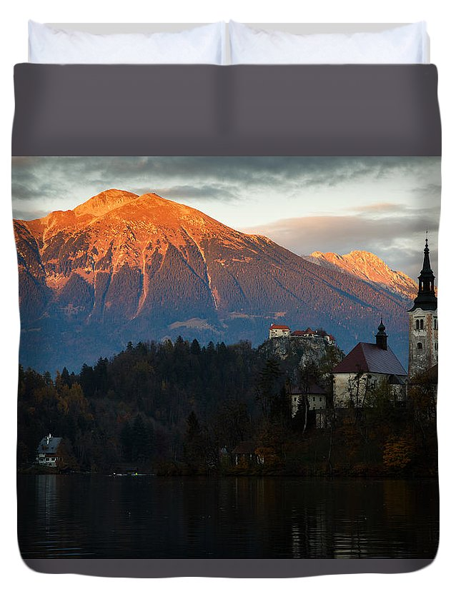 Bled Duvet Cover featuring the photograph Sunset Over Lake Bled by Ian Middleton