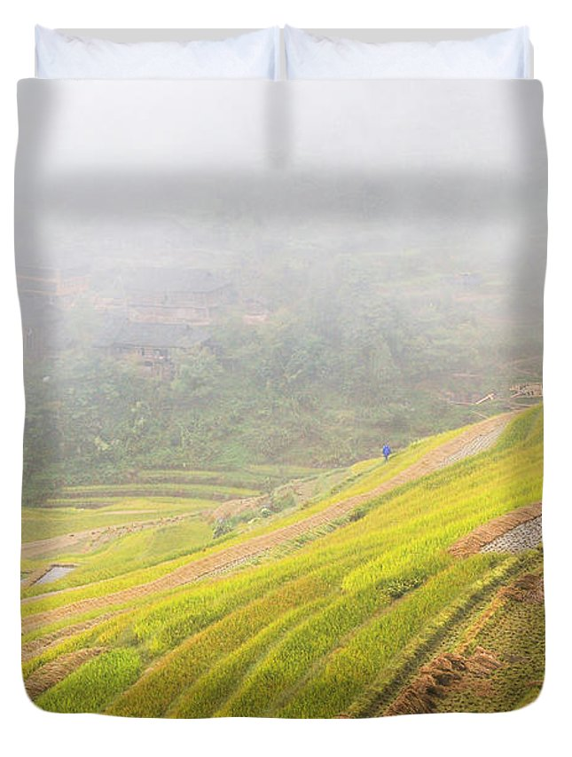 Terrace Duvet Cover featuring the photograph Terrace Fields Scenery In Autumn by Carl Ning