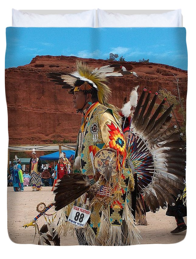 Traditional Dancer Duvet Cover featuring the drawing Traditional Dancer by Tim McCarthy