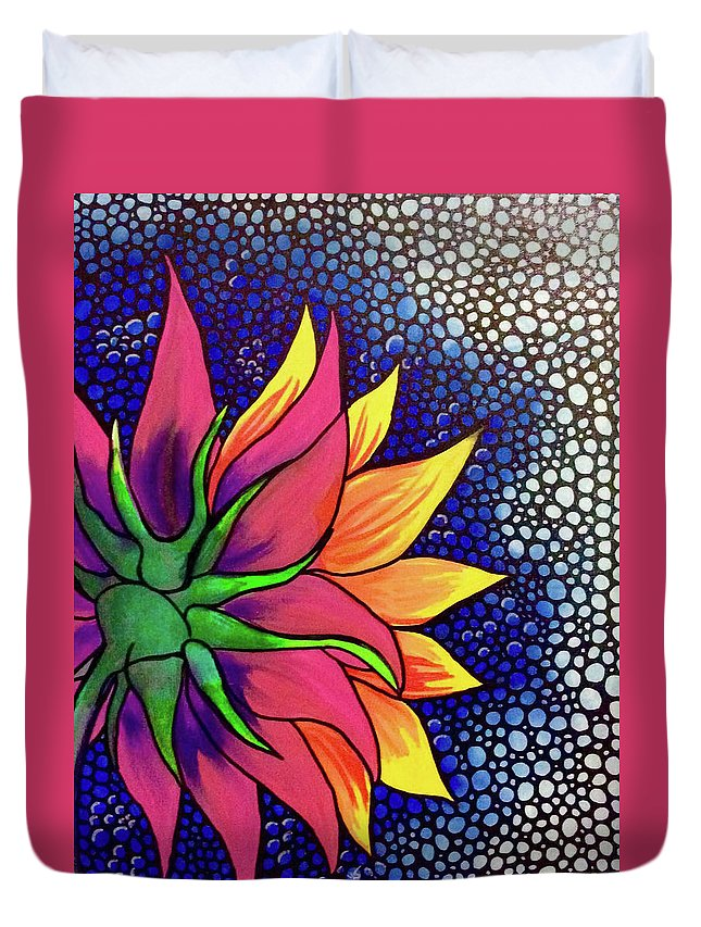 Abstract Sunflower Sun Flower Petals Stem Mosaic Bubbles Circles Highlights Pink Yellow Blue White Green Acrylics Duvet Cover featuring the painting Untitled by Lori Teich