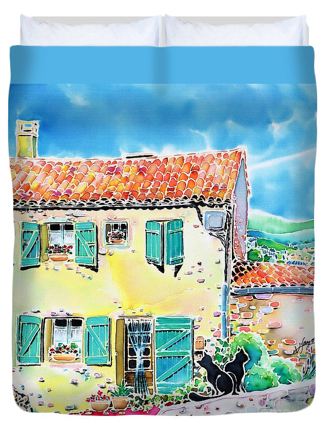 France Duvet Cover featuring the painting View Of Luberon by Hisayo Ohta