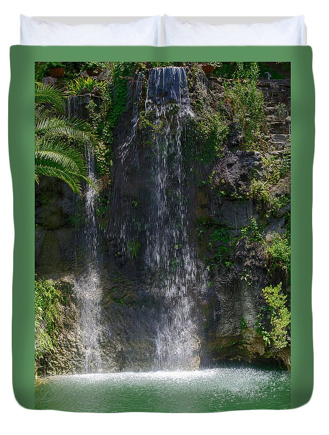 Waterfall Duvet Cover featuring the photograph Waterfall by Karen Hart