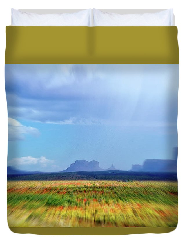 Monument Valley Duvet Cover featuring the mixed media 4 Wheeling With The Storm Cell Approaching Monument Valley 06 4 by Thomas Woolworth