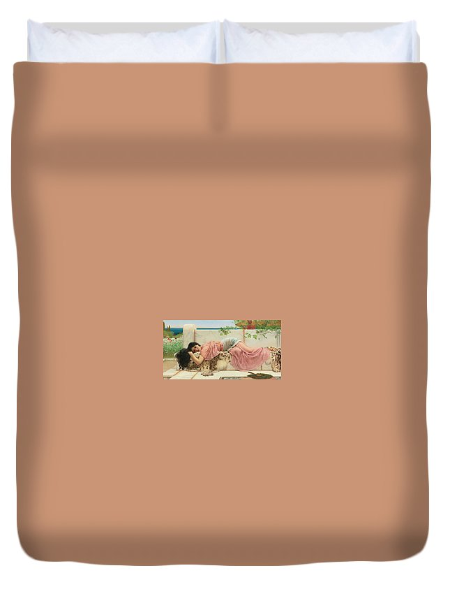 John William Godward Duvet Cover featuring the painting When The Heart Is Young by John William