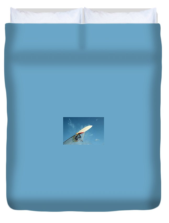 Windsurfing Duvet Cover featuring the photograph Windsurfing by Janet Giles