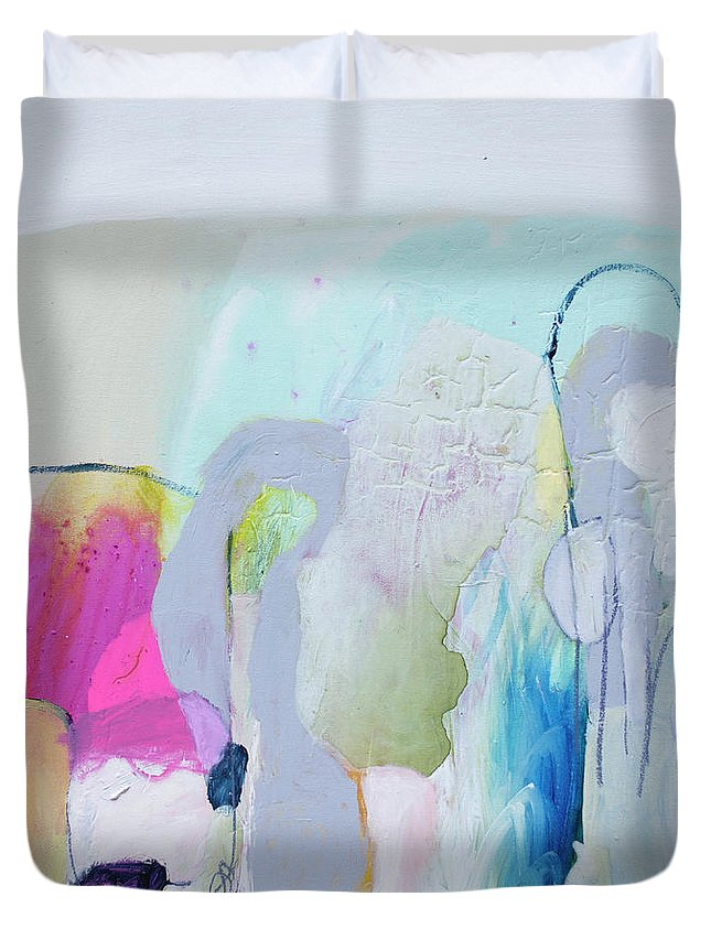 Abstract Duvet Cover featuring the painting 4 Years Ago by Claire Desjardins