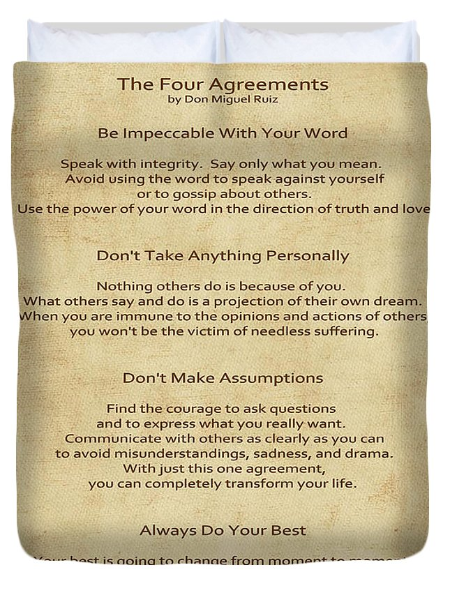 41 The Four Agreements Duvet Cover For Sale By Joseph Keane