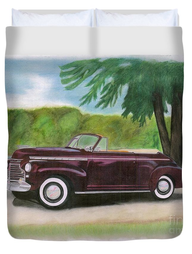 Pastel Duvet Cover featuring the pastel 42 Chevy by Tom Taylor