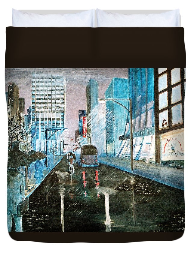 Street Scape Duvet Cover featuring the painting 42nd Street Blue by Steve Karol