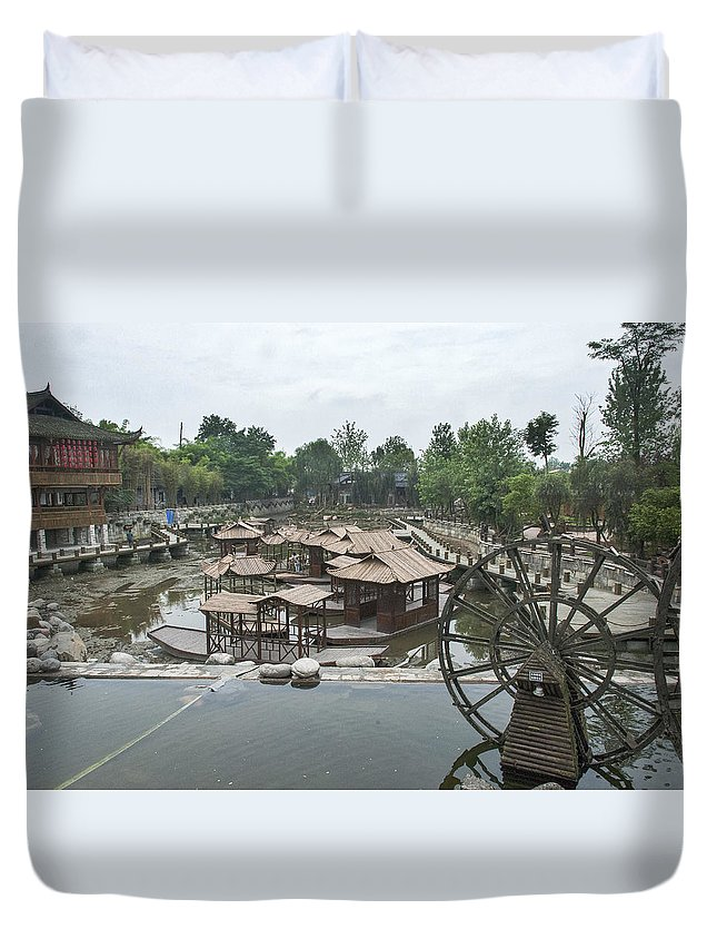 Asia Duvet Cover featuring the photograph 4359- Water Wheel by David Lange