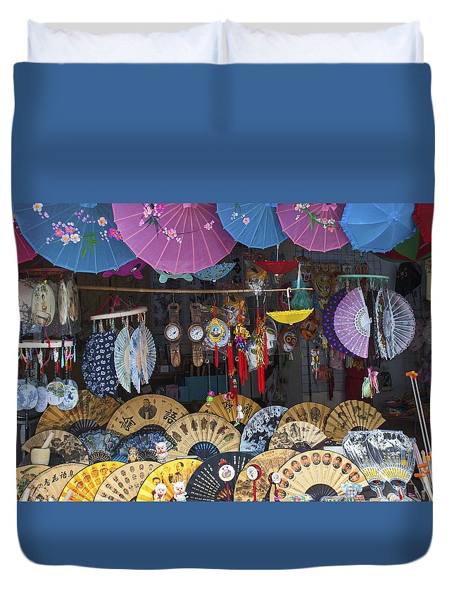 Asia Duvet Cover featuring the photograph 4412- Fan Shop by David Lange