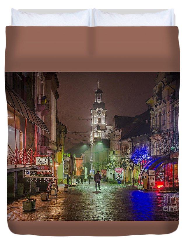 City Duvet Cover featuring the photograph Uzhgorod by Lyudmila Prokopenko