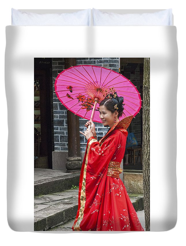 Asia Duvet Cover featuring the photograph 4503- Girl With Umbrella by David Lange