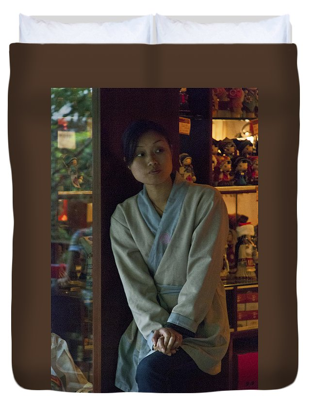 Asia Duvet Cover featuring the photograph 4625- Shop Girl by David Lange