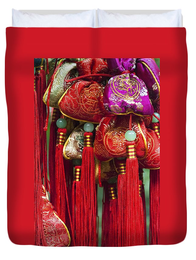 Asia Duvet Cover featuring the photograph 4647- Chinese Tassels by David Lange