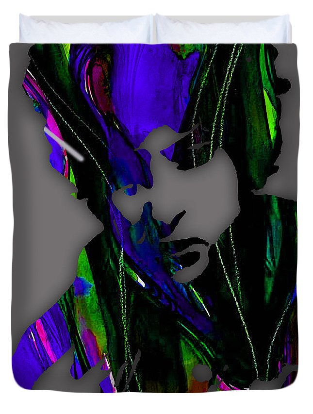 Bob Dylan Duvet Cover featuring the mixed media Bob Dylan Collection by Marvin Blaine