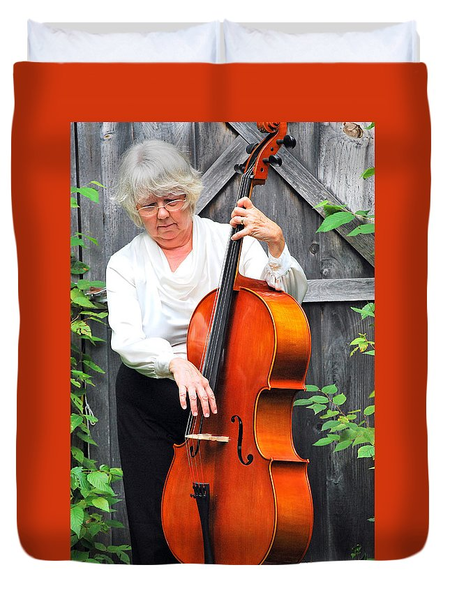 Mature Duvet Cover featuring the photograph Female Cellist. by Oscar Williams