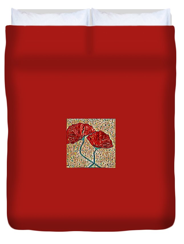 Duvet Cover featuring the digital art Poppy by Melinda Sullivan Image and Design