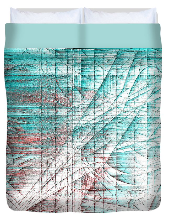 Rithmart Abstract Fade Fading Lines Organic Random Computer Digital Shapes Changing Colors Directions Fading Lines Shapes Shingle Springs Duvet Cover featuring the digital art 4x3.133-#rithmart by Gareth Lewis