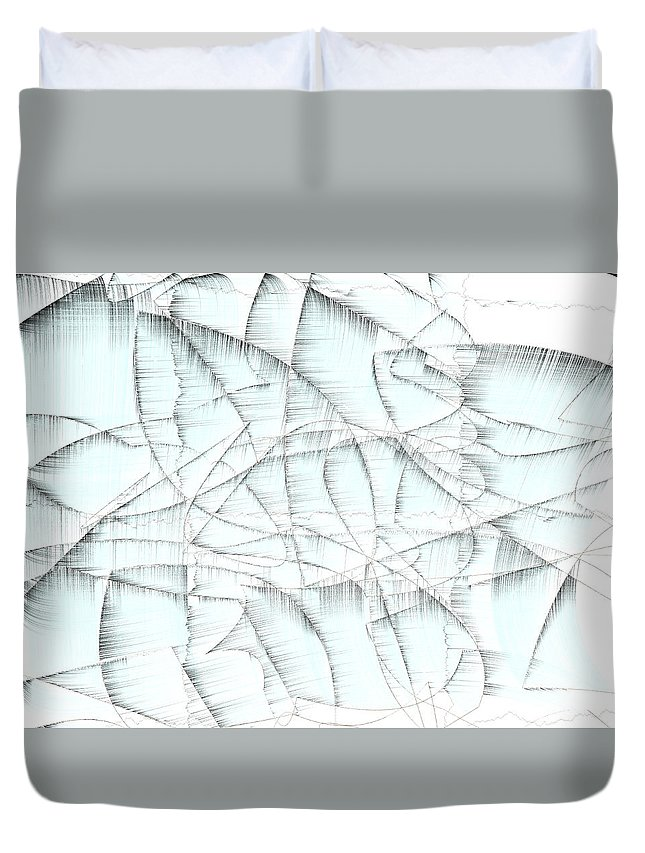 Rithmart Abstract Fade Fading Lines Organic Random Computer Digital Shapes Changing Colors Directions Fading Lines Roubaix Shapes Duvet Cover featuring the digital art 4x3.174-#rithmart by Gareth Lewis