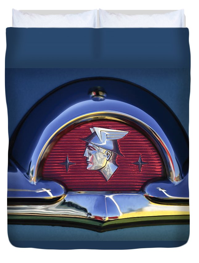 1953 Mercury Monterey Duvet Cover featuring the photograph 1953 Mercury Monterey Emblem by Jill Reger