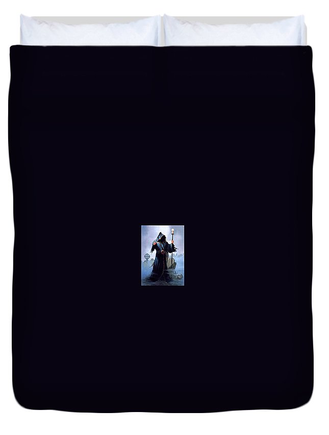 Armor Duvet Cover featuring the digital art A Christmas Carol Dean Morrissey by Eloisa Mannion