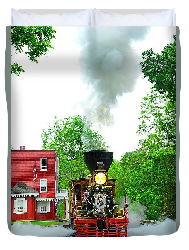 Lincoln Funeral Train Duvet Cover featuring the photograph A President's Funeral Train - 3435 by Paul W Faust - Impressions of Light