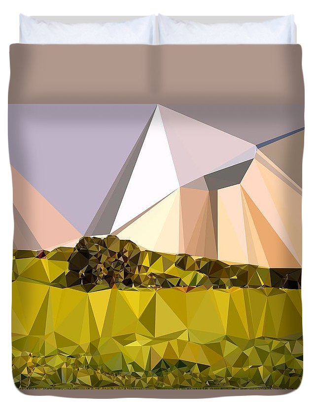 Abstract Art Duvet Cover featuring the digital art Abstract Art Landscape Of Triangles by Elena Kosvincheva