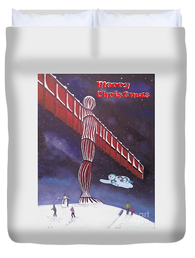 Angel Christmas Duvet Cover featuring the painting Angel Of The North by Neal Crossan