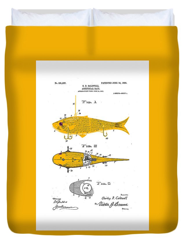 Fishing Duvet Cover featuring the drawing Artificial Bait 1908 by Ray Walsh