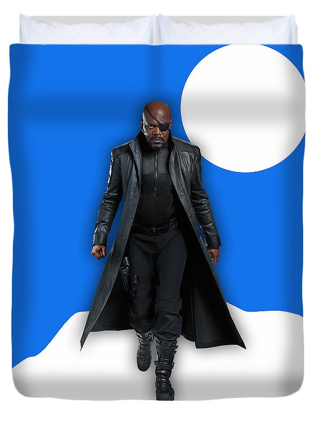 Avengers Duvet Cover featuring the mixed media Avengers Nick Fury Collection by Marvin Blaine