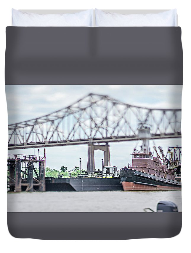 Travel Duvet Cover featuring the photograph Baton Rouge Louisiana City Skyline And Surrounding Views by Alex Grichenko