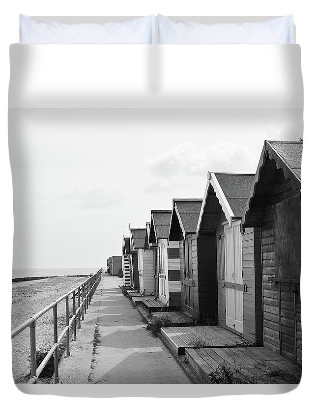Beach Huts Duvet Cover featuring the photograph Beach Huts by Ed James