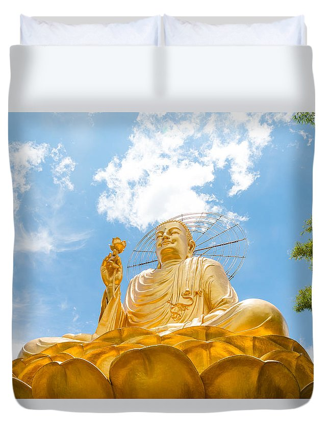 Ancient Duvet Cover featuring the photograph Big Golden Buddha by Nikita Buida