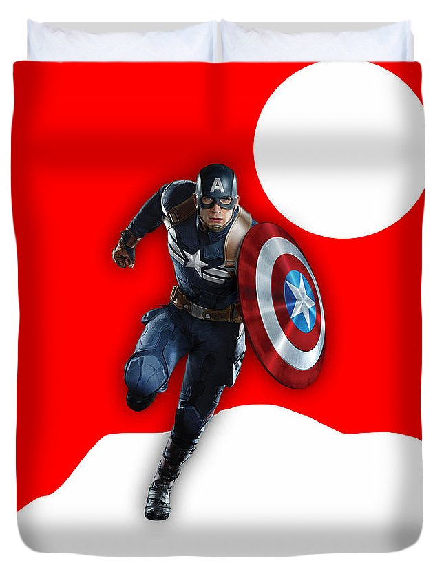 Avengers Duvet Cover featuring the mixed media Captain America Collection by Marvin Blaine