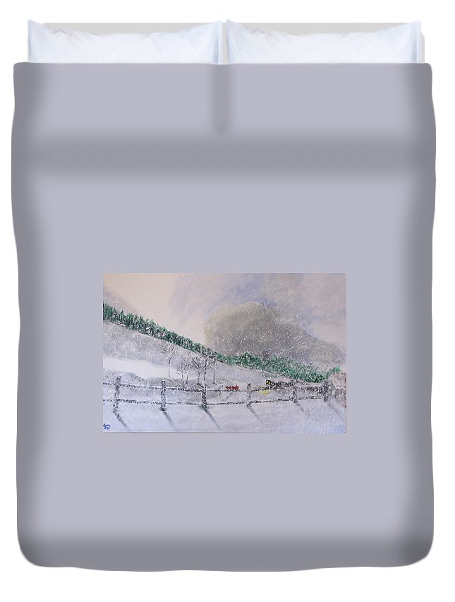 Snow Duvet Cover featuring the painting 5 Card Stud by Gary Smith