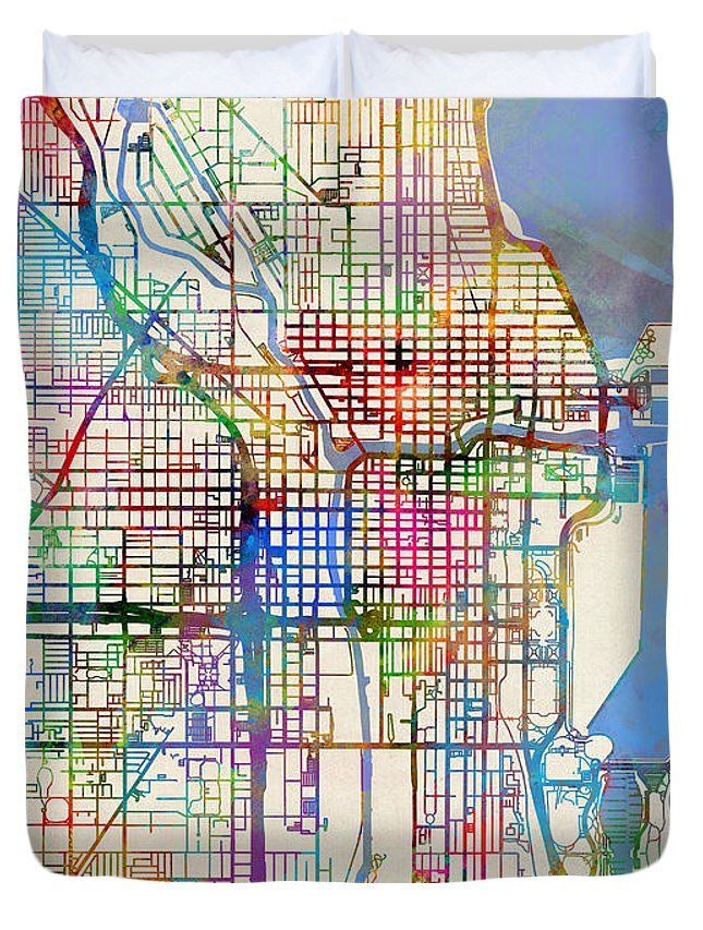 Chicago City Street Map Duvet Cover for Sale by Michael Tompsett on