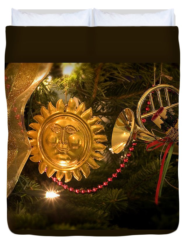 Christmas Duvet Cover featuring the photograph Christmas Tree Decorations by Mal Bray
